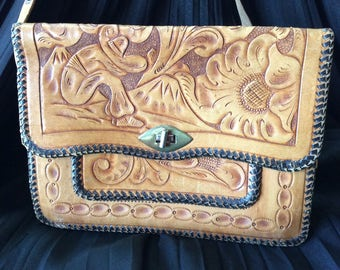 50's/ 60's Awesome Tooled Leather Purse