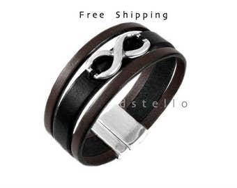 Anniversary gift - Infinity love bracelet - Infinity bracelet - Custom made leather bracelet - Hand sewn antique infinity symbol - Unisex