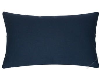 Navy Blue Solid Decorative Throw Pillow Cover / Pillow Case / Cushion Cover / Cotton / 12x20""