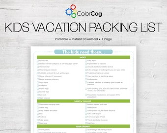 Kids Vacation Packing List Printable PDF Green and Blue