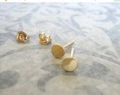 ON SALE - 4.5-5 mm Gold studs , Brushed matt gold disc post earrings , Small circle gold studs , Handmade by Adi Yesod