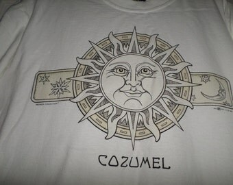 Vintage Cosumel Del Sol t shirt White Sun Medium Graphic 36