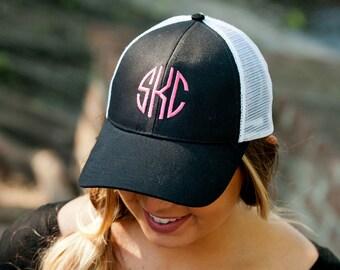 Black Trucker Hat - Baseball Cap - Monogram Cap - Womens Hat - Personalized Cap - Initials Cap - Womens Cap - Black Cap - Women's Gift
