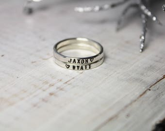 Personalized Rings - Sterling Silver Hammered Hand Stamped 2mm Stacking Rings - Posey Rings - Stackable Rings