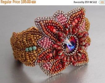 Spring sale Free Shipping , Bead Embroidery, Bracelet, Statement cuff, Seed bead bracelet, Red , Brown, Swarovski
