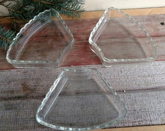 Vintage Clear Glass Serving Bowls - 3 Retro Decorative Dishes, Home Decor, Dresser Dish + Organizing, Shabby French Wedding Decor or Serving