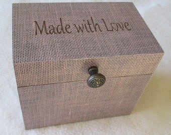 Recipe Box, Wooden Recipe Box, 4X6 or 5X7 Recipe Box, Burlap Recipe Box , Personalized, Shower Gift