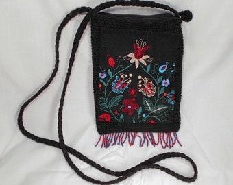 Vintage Small Black Embroidered Beaded Shoulder Purse MINT