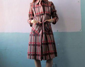Vtg 70s Plaid Coat