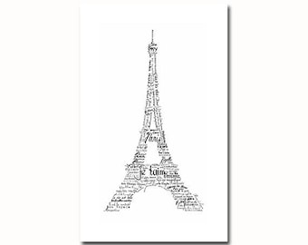 Eiffel tower typography art print illustration