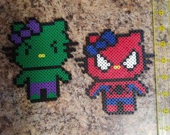 Hello kitty marvel hulk or spiderman perler bead art, you pick 1.
