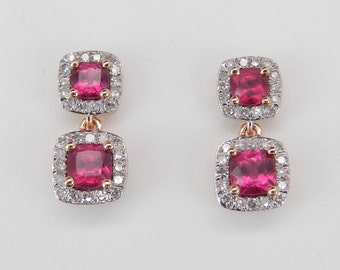 14K Rose Gold Ruby and Diamond Halo Drop Earrings Wedding Gift July Birthstone