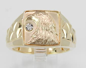 Mens Yellow Gold Diamond Eagle Signet Style Ring Size 8.25 American Patriotic