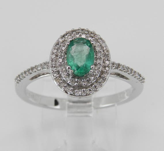 Diamond and Emerald Double Halo Engagement Ring White Gold Size 8 May Birthstone