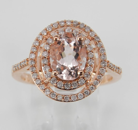 Morganite and Diamond Double Halo Engagement Ring Rose Gold Size 7