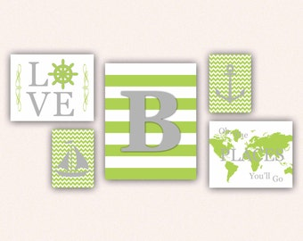 Nautical Monogram Nursery Print Set - Gray and Lime Anchor, Sail Boat, Love, World Map, Oh the Places You'll Go on Chevrons, Stripes (5001)