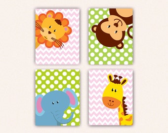 Jungle Animal Nursery Print Set - Elephant Monkey Giraffe Lion Kids Bedroom Art, Chevron and Polka Dot Safari Decor in Pink & Lime (5008)