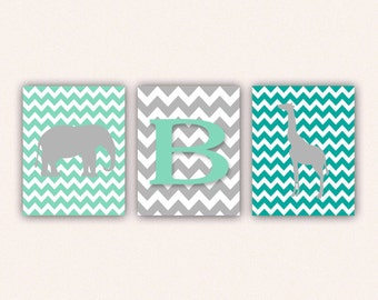 Chevron Elephant Monogram and Giraffe Print Set - Teal Mint and Gray Wall Art - Zoo or Jungle Nursery Art (5005)