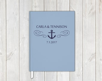 Nautical Anchor Wedding Guest Book in Light Blue and Navy - Personalized Traditional Guestbook, Journal, Album