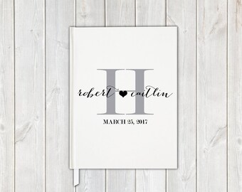 Black and White Monogram Handwritten Script Wedding Guest Book with Bride and Groom - Personalized Traditional Guestbook, Journal, Album