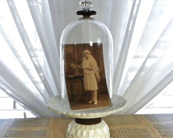 Vintage Glass Cloche Dome, Up Cycled Vintage Glass Dome Display, Farmhouse Decor, Assemblage