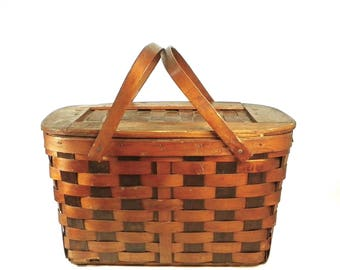 Woven Wood Picnic Basket, Vintage Summer Fun