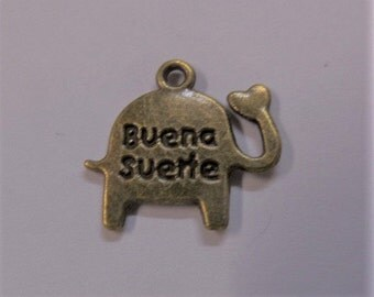 14mm. 5CT. Buena Suerte (Good Luck) Silver Toned Elephant Charms Y4