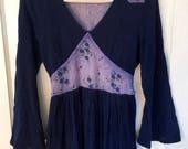 Vintage 70s Maxi Dress india cotton Contempo Casuals boho hippie dress