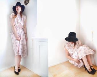 Vintage Dress Powder pink Floral print sun dress Soft cotton romantic dress  80s 90s garden party day dress