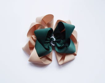 School Uniform Large Boutique Bow - Stacked Octopus Bow -  Navy, Hunter, Tan, Light Blue, White