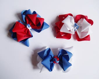 4th of July Patriotic Medium Boutique Bow - Stacked Octopus Bow -  Red, White, Blue