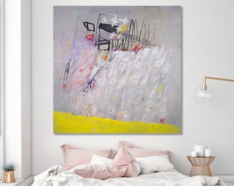 """Modern urban painting Grey and yellow Large ABSTRACT painting 40x40 """"Resetting 01"""" canvas art by DUEALBERI"""