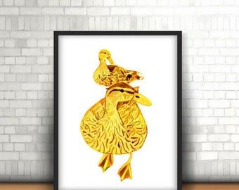 Golden Duck Instant Download Wall Art