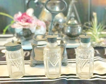 Antique Silver Condiment Caddy Silver Crystal Condiment Set