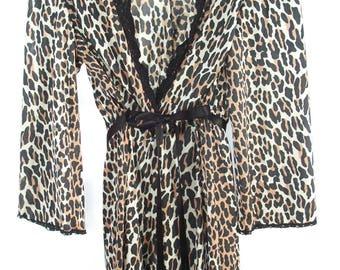 Leopard Print ~ Full Length  ~ Robe ~ Slinky Bohemian Chic Style ~ Black Lace Trim