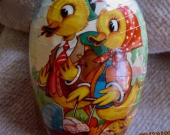 Vintage 1950sPaper Mache Easter Egg, Made in Western Germany, German Easter Egg, VintageEaster Decor, Easter Chick, Vintage Easter Egg