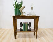 Mid Century Side Table, Tapered Legs and Shelf, Vintage Furniture