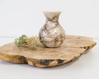 Horse Hair Raku Pottery, Small Vase, Vintage Home Decor, Neutral/Brown