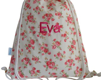 Personalised Vintage Rose Drawstring Swim Bag, Backpack