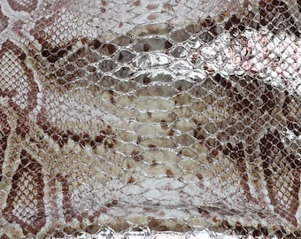 New Snakeskin Print Genuine Leather, Metallic Silver and Brown Goat Skin