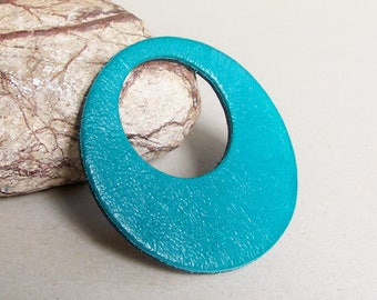 Leather Circle Shape Necklace Pendant  Teal Genuine Leather