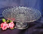 Pedestal Clear Cake Plate / Vintage Press Glass Clear Pedestal Cake Stand