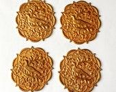 Centerpiece Bird Medallion, 4 Pieces, Floral Border, Vintage Brass, Bird, Gingerbread Patina Brass, B'sue Boutiques, 40x37mm, Item02279