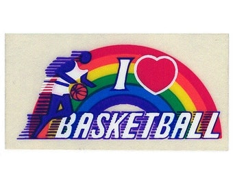 Vintage 80's RAINBOW FACTORY Stickers ~ I Love BASKETBALL Sports Athlete Heart