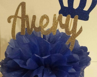 Royal Blue and Gold Personalized Name Centerpiece Prince 1st Birthday Party Baby shower table decor