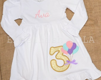 Birthday Balloon Applique Number Short or Long Sleeve White Ruffle Dress