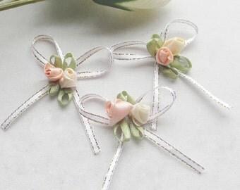 Satin Ribbon Flowers Bow w/rose set of 6