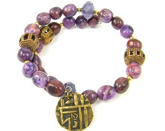 Purple Boho Bracelet, Purple Bronze Tribal Bead Bracelet, Tribal Coin Charm Bracelet, Purple Gemstone Wrap Bracelet |BC1-15