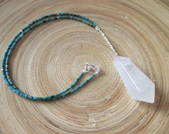 "SALE Crystal quartz drop necklace with tiny turquoise beads and fine silver / 17"" turquoise necklace"