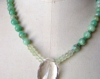 """Quartz crystal and chrysoprase necklace with shimmery focal and prehnite 18"""" green gemstone necklace"""